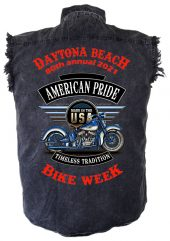 Daytona Beach Bike Week 2021 American Pride Men's Denim Biker Shirt