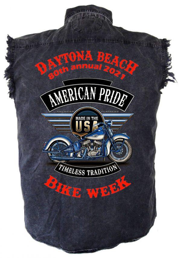 Daytona Beach Bike Week 2021 American Pride Men's Denim Biker Shirt