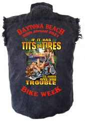Men's Daytona Beach Bike Week Tits or Tires Denim Shirt