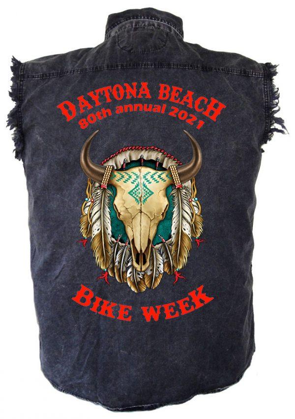 Daytona Beach Bike Week 2021 American Buffalo Skull Men's Denim Shirt
