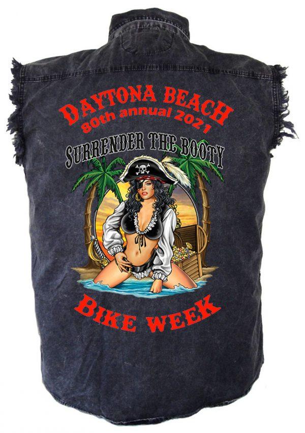 Men's Daytona Beach 2021 Bike Week Surrender The Booty Denim Shirt