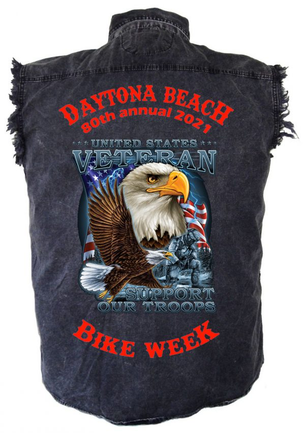 Daytona Beach Bike Week 2021 Support Our Troops Men's Denim Shirt