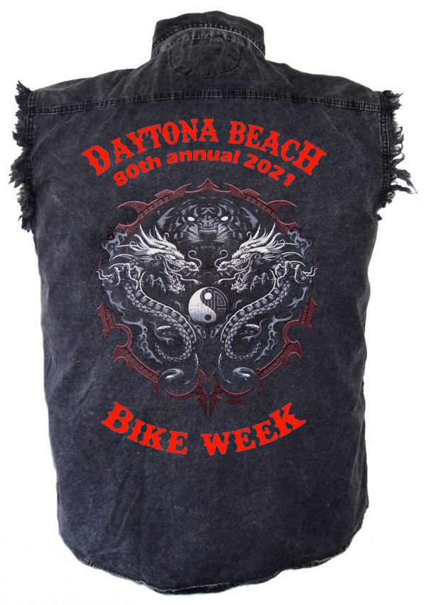 Men's Daytona Beach Bike Week 2021 Tiger Vs. Dragon Biker Shirt