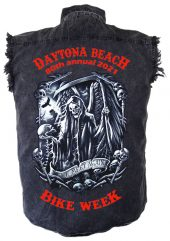 Daytona Beach Bike Week 2021 Death Awaits Men's Biker Shirt