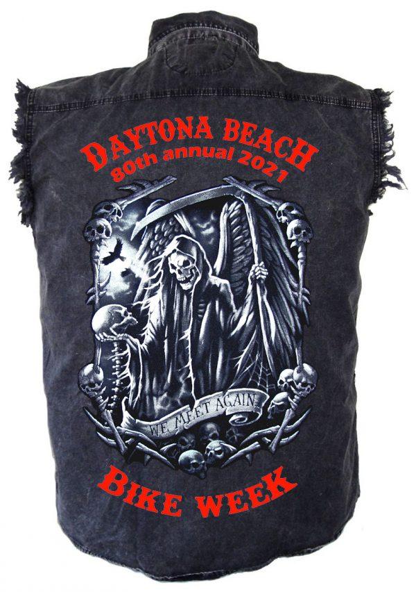 Daytona Beach Bike Week 2021 Death Awaits Men's Biker Shirt