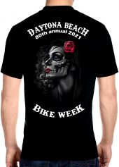 Daytona Beach Bike Week 2021 Death and Red Roses Men's Biker Tee Shirt