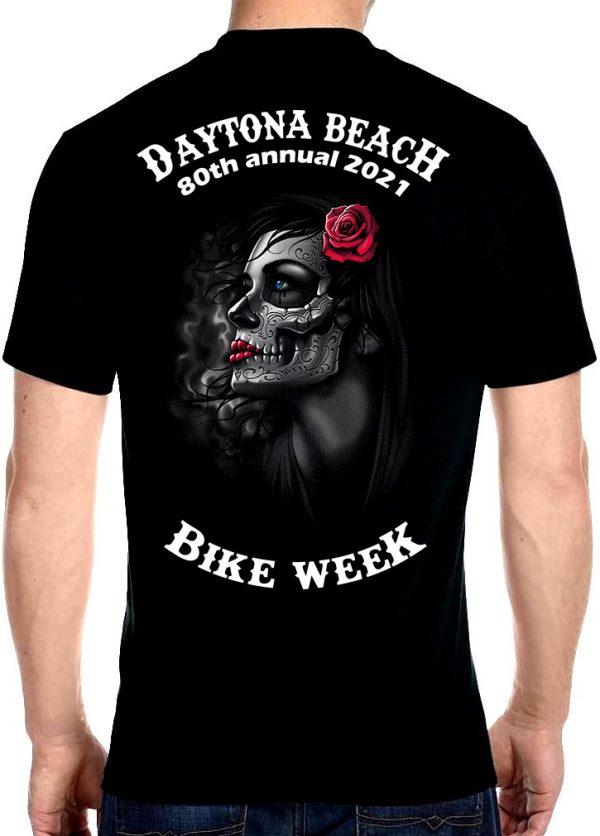 Daytona Beach Bike Week 2021 Death and Red Roses Men's Biker Tee Shirt