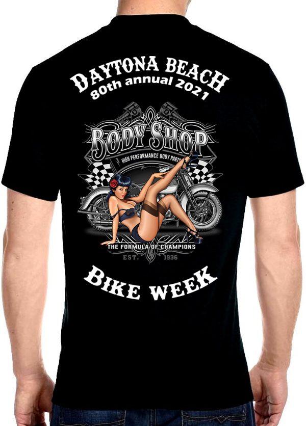 Daytona Beach Bike Week 2021 American Pin-Up Girl Men's Biker Tee Shirt