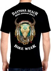 Daytona Beach Bike Week 2021 Buffalo Skull Men's Biker Tee Shirt