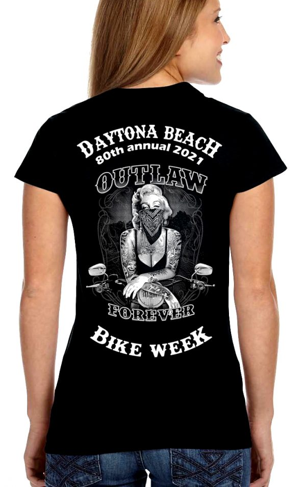 Daytona Bike Week 2021 Marilyn Monroe Outlaw Ladies T-Shirt
