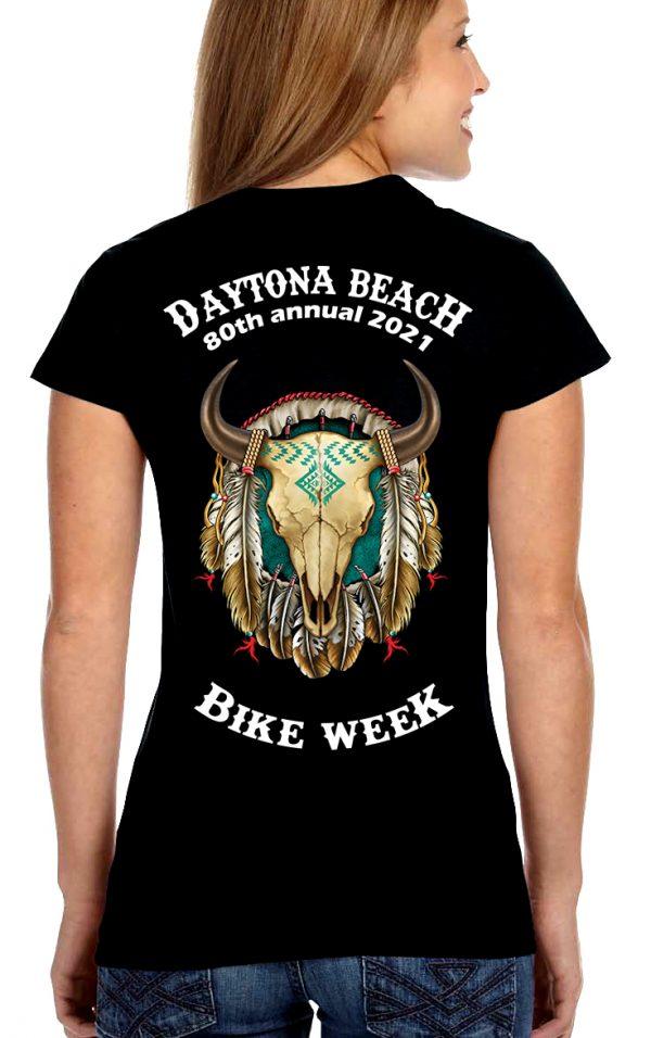 Daytona Bike Week 2021 Buffalo Skull Women's Biker Tee Shirt