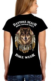 Daytona Bike Week 2021 American Wolf Dreamcatcher Ladies T-Shirt