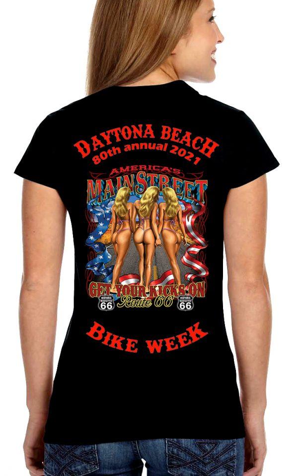 Daytona Bike Week 2021 Route 66 Ladies Biker T-Shirt