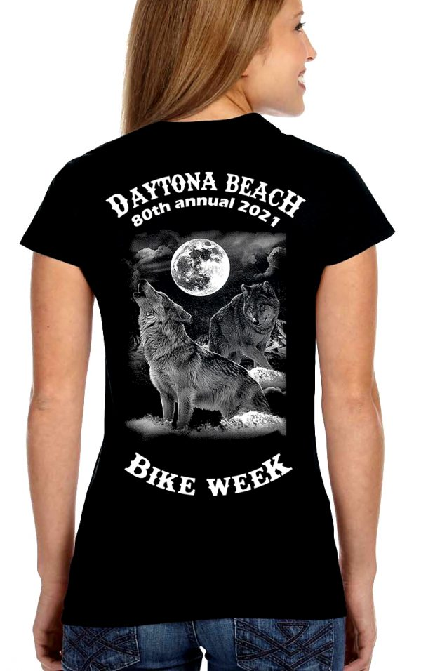 Daytona Bike Week 2021 Howling Gray Wolves Women's Biker Tee Shirt