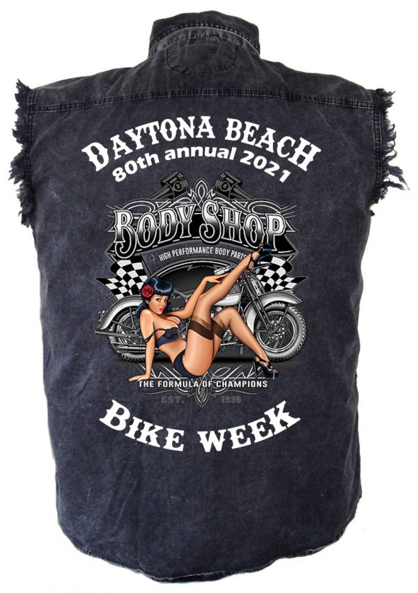 Daytona Bike Week 2021 Vintage Pin-Up Babe Men's Denim Biker Shirt