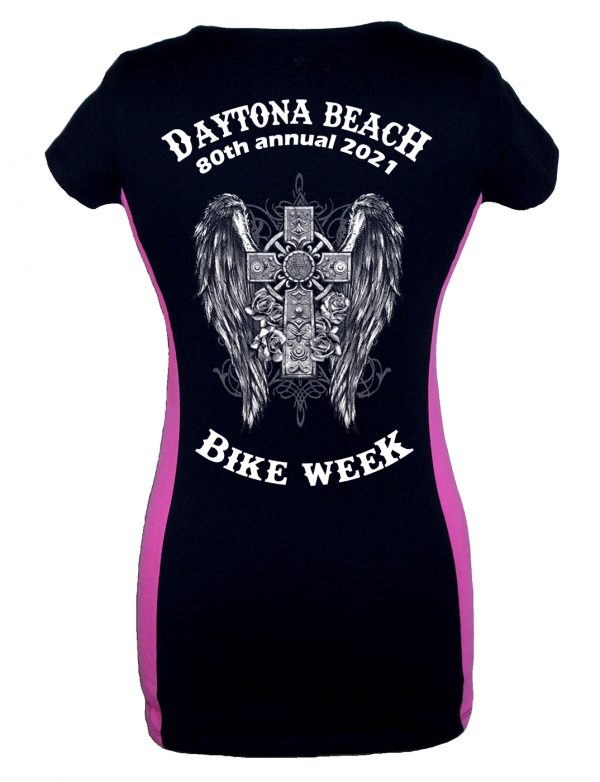 Ladies Daytona Bike Week 2021 Gothic Cross Two Tone Tee Shirt