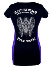 2021 Daytona Bike Week Gothic Cross Ladies Tee Shirt