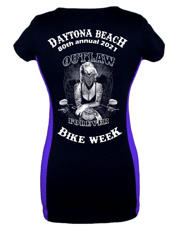 Ladies Daytona Bike Week 2021 Marilyn Monroe Two Tone Tee Shirt