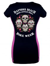 Ladies Daytona Bike Week 2021 Blooming Skulls Tee Shirt