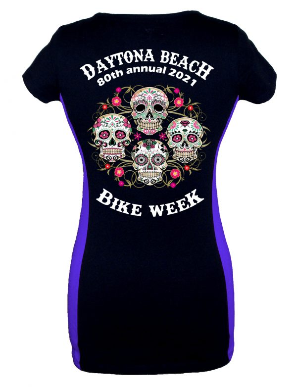 Daytona Bike Week 2021 Blooming Skulls Ladies Tee Shirt