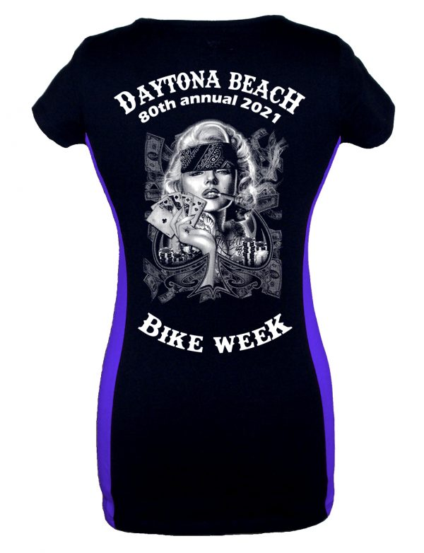 Daytona Bike Week 2021 Marilyn Monroe Poker Face Ladies Tee Shirt