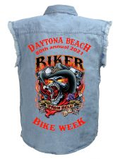 Daytona Bike Week 2021 Hell Biker Skull Blue Denim Biker Shirt