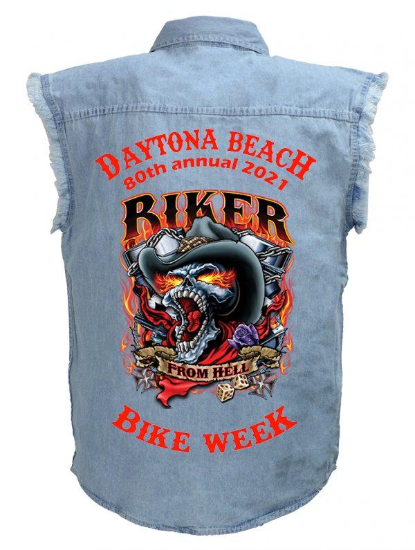 Daytona Bike Week 2021 Hell Biker Skull Blue Denim Biker Shirt