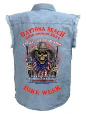 Daytona Beach 2021 Bike Week Death Rider Blue Denim Biker Shirt