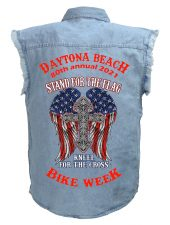 Daytona Beach 2021 Bike Week Cross Man's Denim Biker Shirt