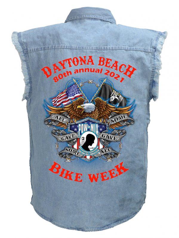 Daytona Bike Week 2021 American Eagle Men's Denim Biker Shirt
