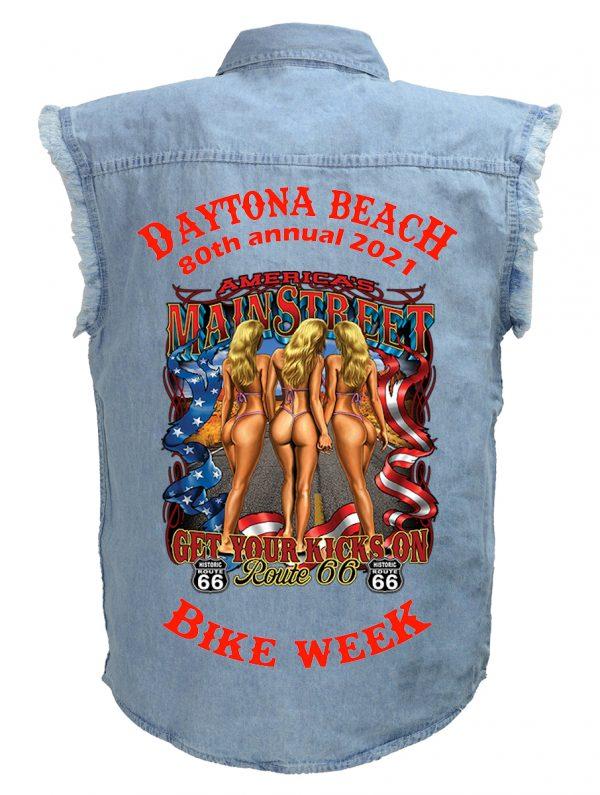 Daytona Beach 2021 Bike Week Route 66 Bikini Babes Men's Blue Denim Biker Shirt