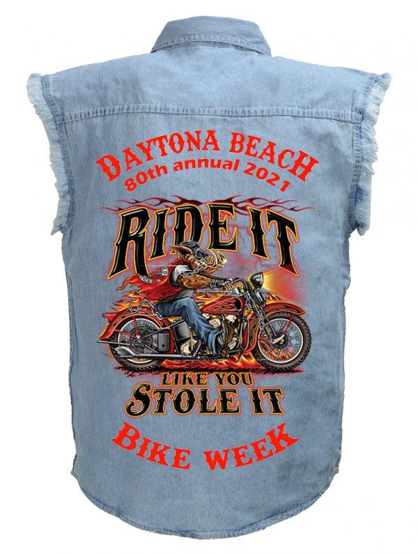 Daytona Bike Week 2021 Wild Hog Man's Blue Denim Biker Shirt