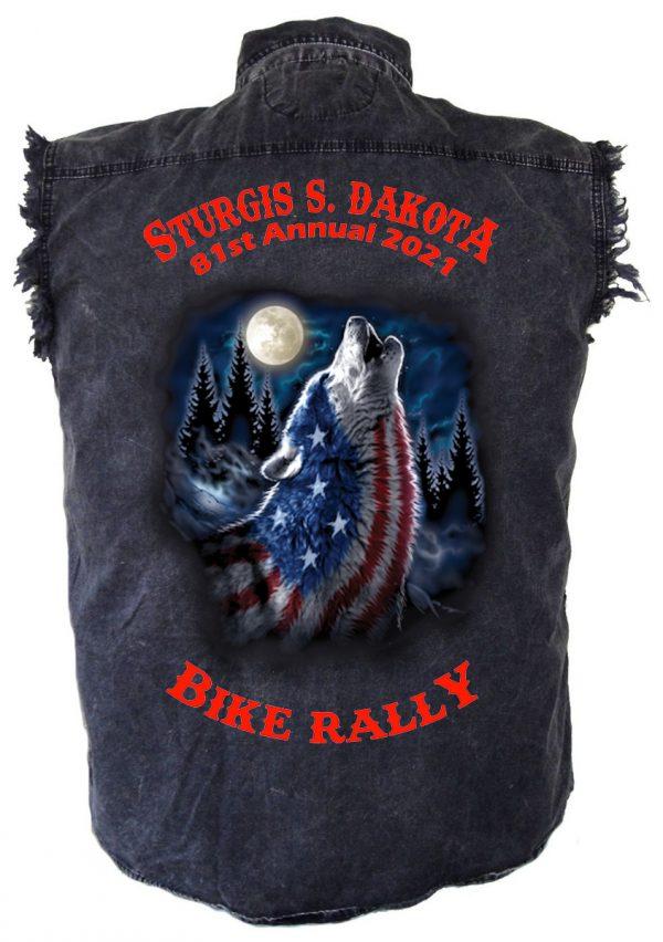 mens patriotic wolf denim biker shirt