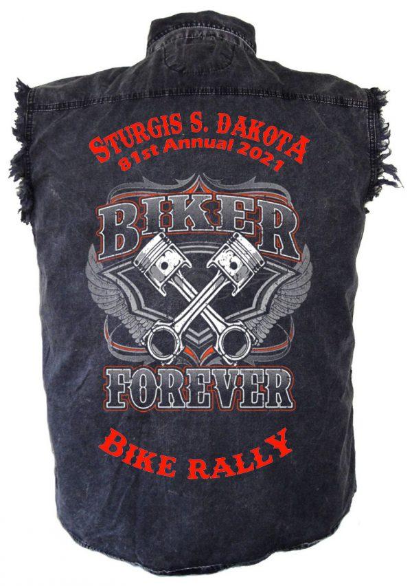 mens 2021 sturgis biker forever denim shirt