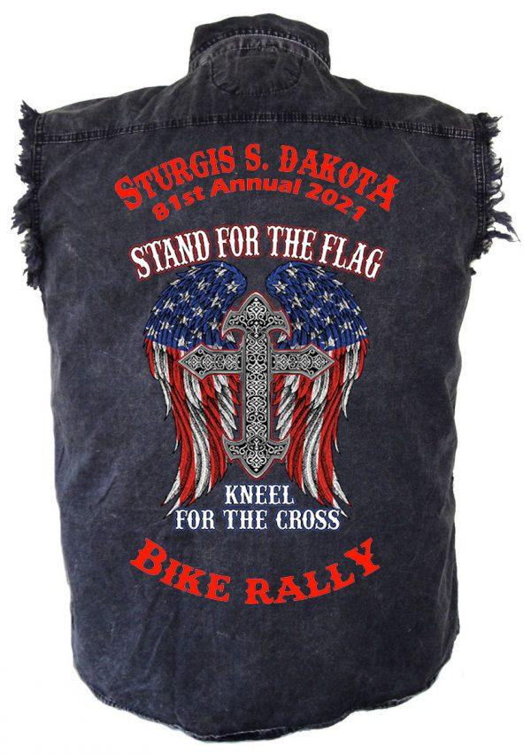 mens 2021 sturgis stand for flag denim shirt