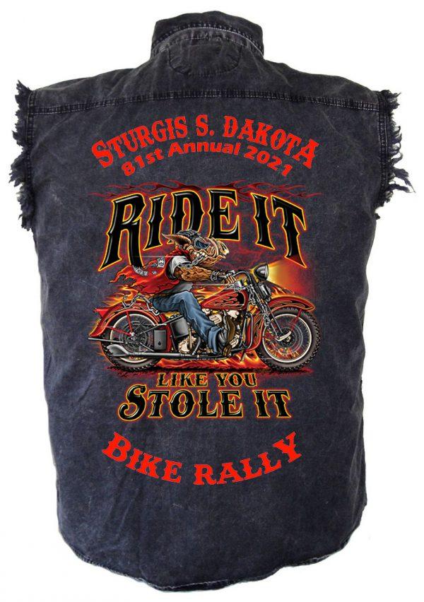mens 2021 sturgis ride it like you stole it denim shirt
