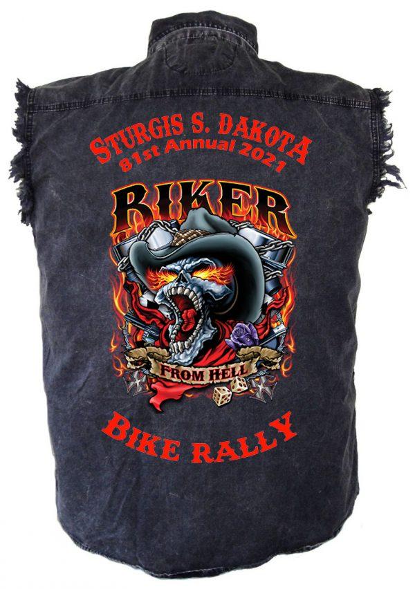 mens 2021 sturgis biker from hell denim shirt