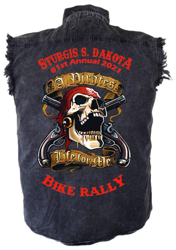 mens 2021 sturgis pirates life denim shirt