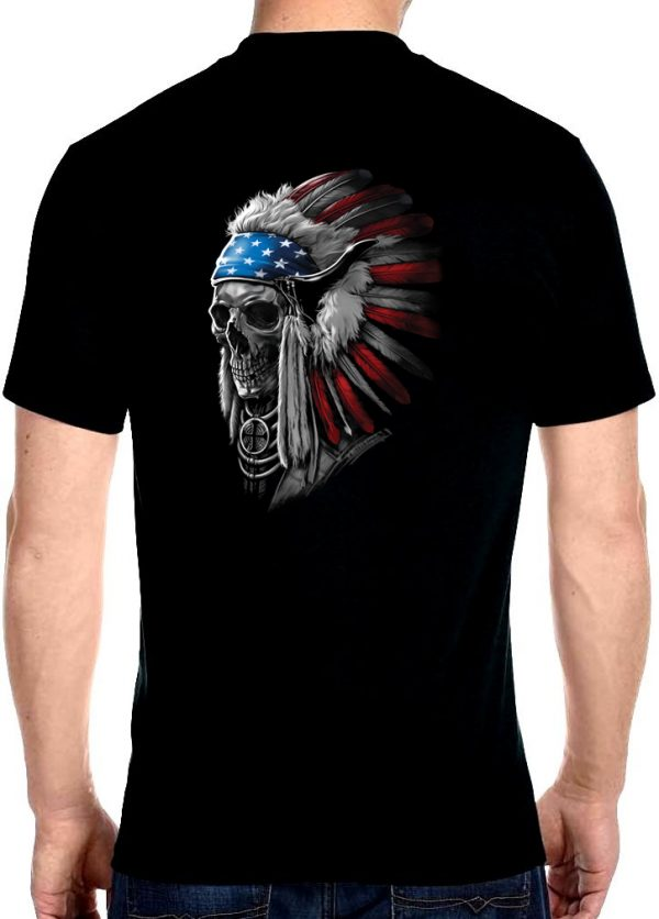 men's patriotic Indian headdress biker t-shirt