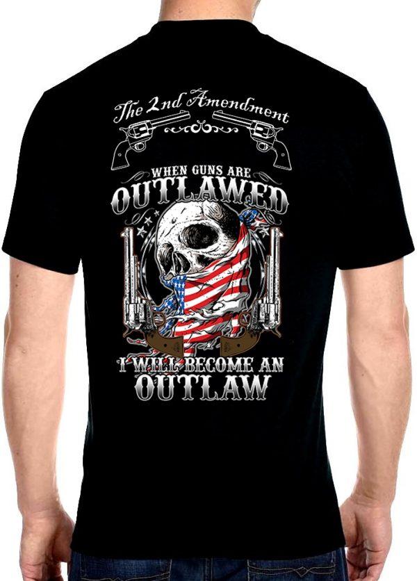 men's when guns are outlawed skull biker t-shirt