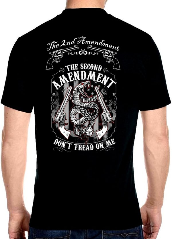 men's the second amendment don't tread on me snake biker t-shirt