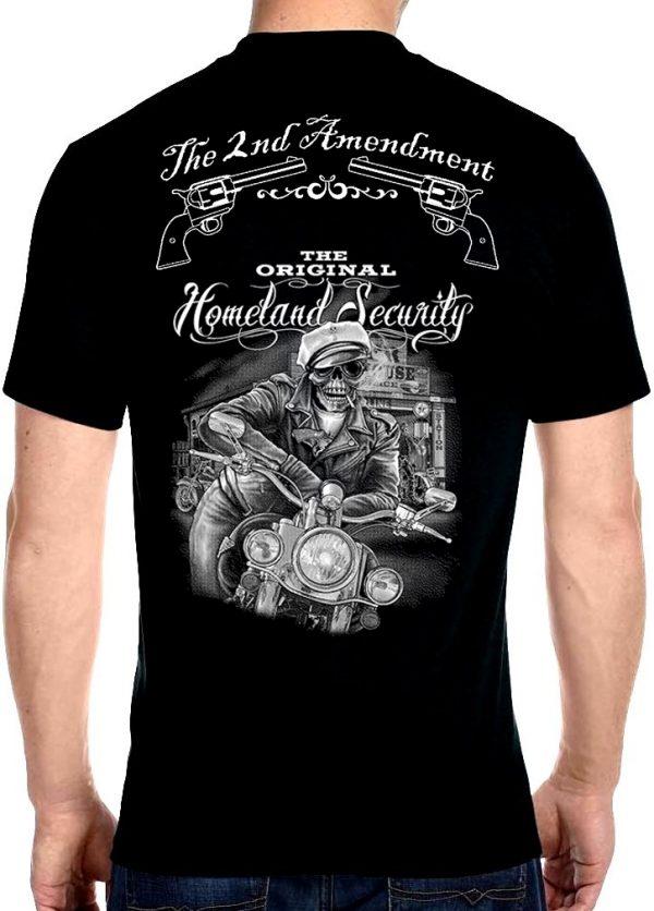 mens original homeland security skeleton biker dude biker t-shirt