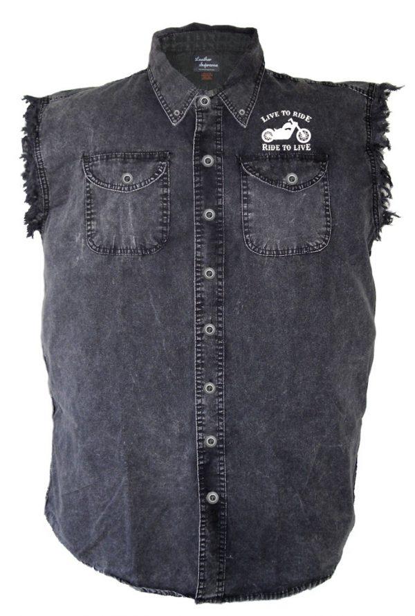 men's front pocket design denim biker shirt