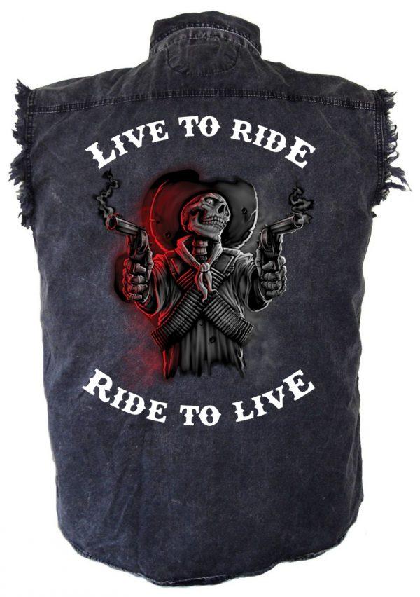 men's live to ride ride to live gunslinger denim biker shirt