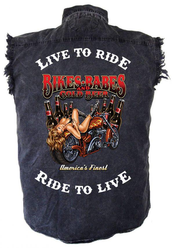 men's live to ride ride to live bikes and babes denim biker shirt