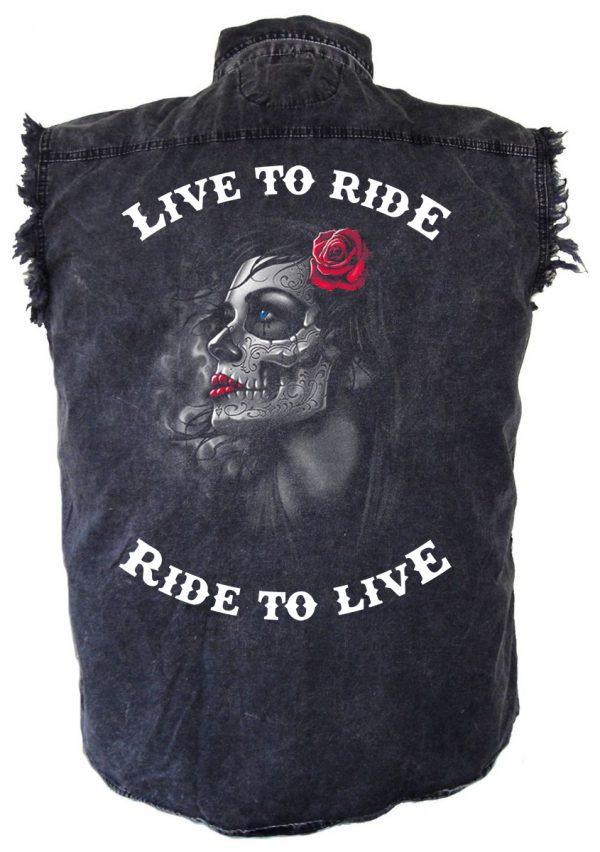 mens live to ride ride to live gothic girl biker denim shirt