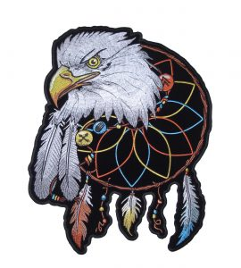 Silver eagle native American dreamcatcher biker patch