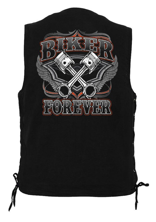 mens denim biker vest with biker forever design