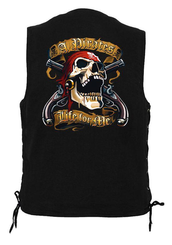 mens denim biker vest with a pirates life for me design