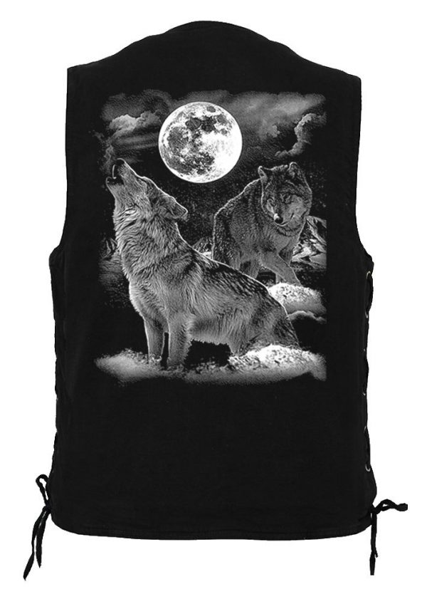 mens denim biker vest with howling wolf design
